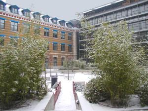 Manufacture, cour Sud sous la neige