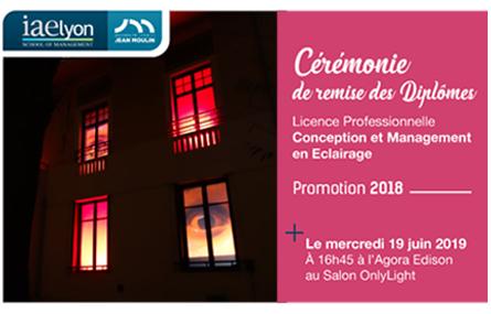 Licence Pro Eclairage : remise de diplômes de la promo 2018 sur le salon OnlyLight