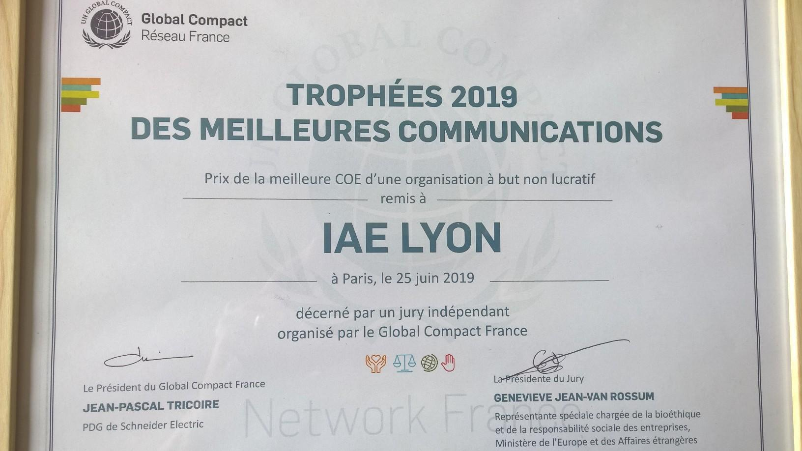 Trophées Global Compact France 2019 - iaelyon